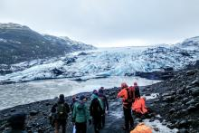 Students, as a part of the GREEN Program, explore the Sólheimajökull glacier in Southern Iceland.
