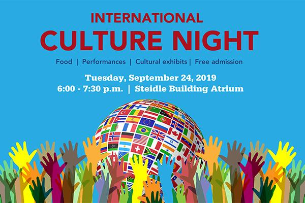 The 2019 International Culture Night will be held Tuesday, September 24 in the Atrium of the Steidle Building
