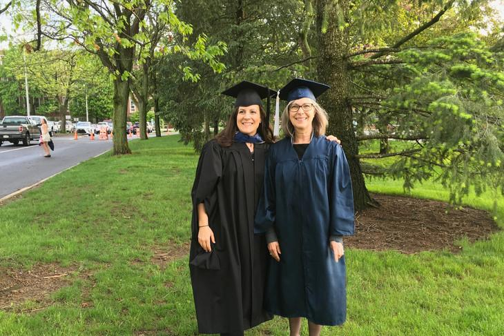 Christine Stallard, right, stands next to Haley Sankey, instructor in energy and sustainability policy (ESP) in the John and Willie Leone Family Department of Energy and Mineral Engineering, prior to the spring 2017 commencement ceremonies.