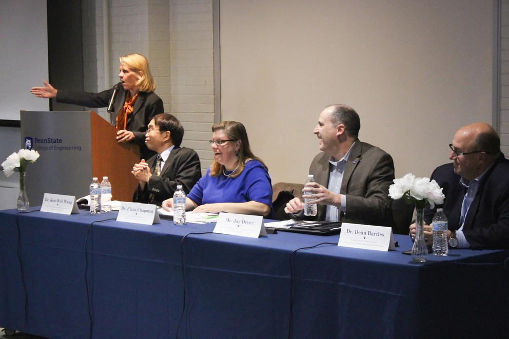 "Elana Chapman, center, shared her insights on a panel, ""Mechanical Engineering of the Future,"" in 2019 at Penn State."