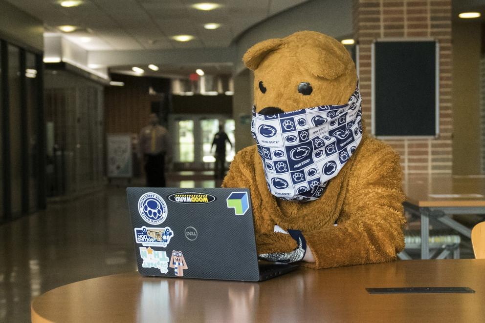 Nittany Lion wearing a mask