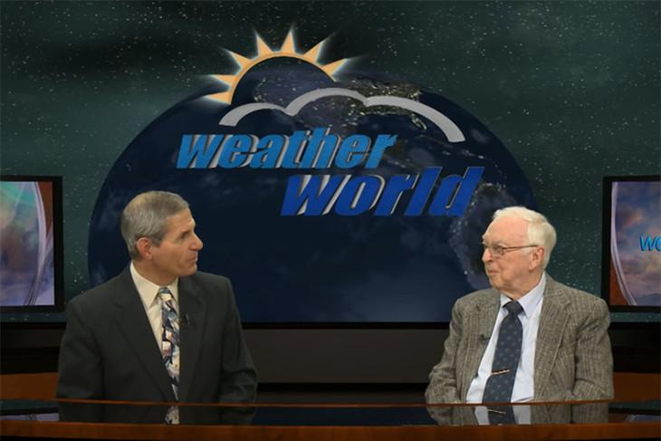 Jon Nese, senior lecturer and associate head for undergraduate programs in the Department of Meteorology and Atmospheric Science interviewing Charles Hosler, professor emeritus of meteorology and dean emeritus of the College of Earth and Mineral Sciences, about the June 1957 weather forecast.