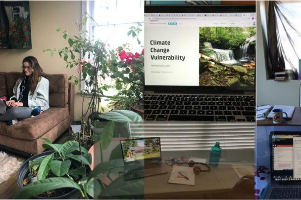 Penn State geography undergraduate student Talia Potochny is pictured in this collage showing various students' home workspaces