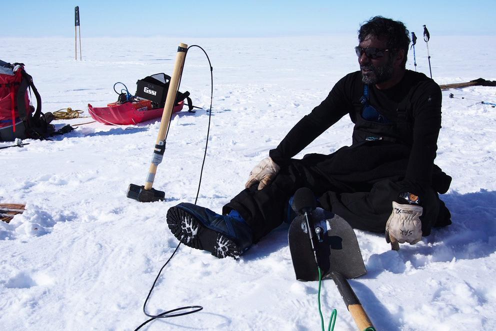 Sridhar Anandakrishnan, professor of geosciences, collects data in Antarctica.