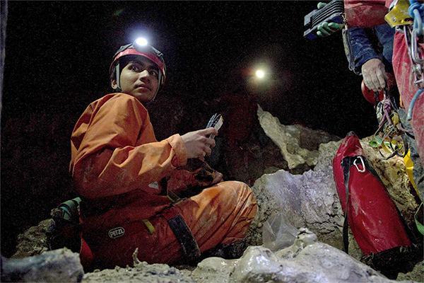Muammar Mansor in Italy's Frasassi Cave