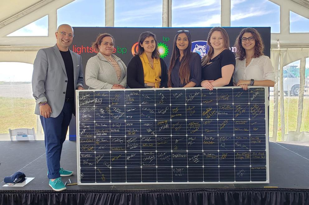 Penn State student Zoë Rauscher, second from right, attended the groundbreaking of a 70 megawatt solar array in Franklin County