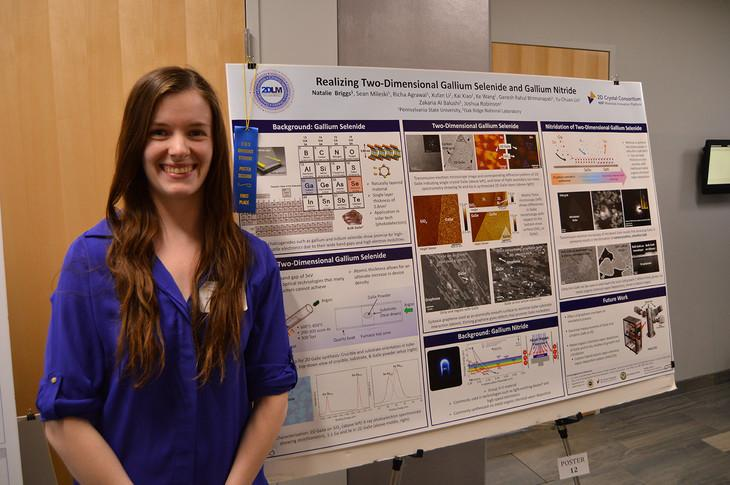 Natalie Briggs, a graduate student studying materials science and engineering, won first place in the College of Earth and Mineral Sciences' (EMS) Graduate Student Poster Competition.