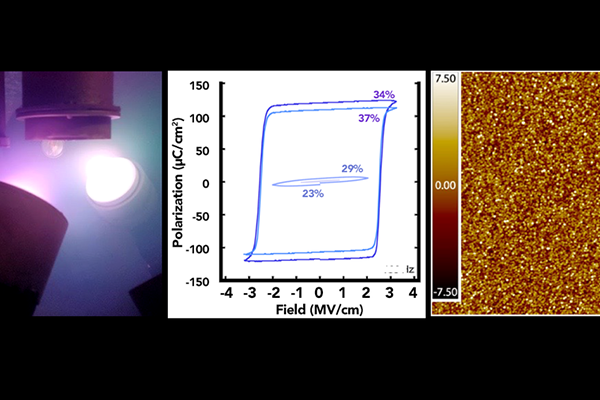 Image shows part of the process of creating ferroelectric magnesium-substituted zinc oxide thin films