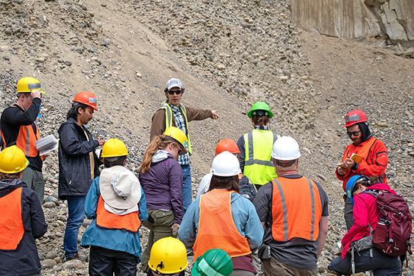 Roman DiBiase, assistant professor of geosciences, leads a field exercise