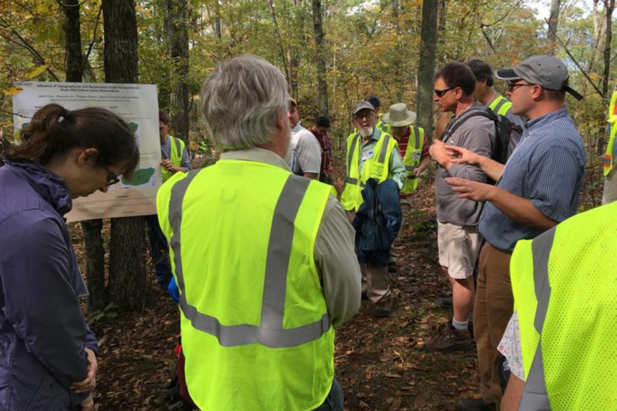 Geologists tour the Susquehanna Shale Hills Critical Zone Observatory near Shaver's Creek Environmental Center