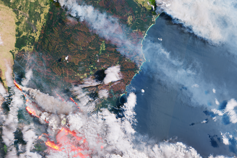 Satellite imagery from the European Space Agency shows wildfires on the east coast of Australia