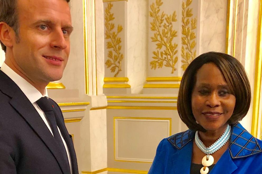 Professor Judi Wakhungu with French President Emmanuel Macron