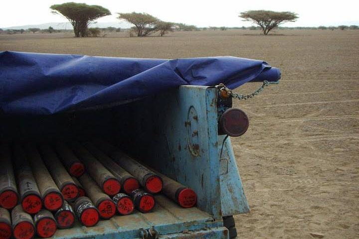 Recently collected cores sit in the back of an old truck after they were drilled from an ancient lake bed in Afar, Ethiopia