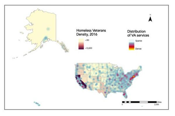 VA service centers are concentrated in urban areas and do not align with largest populations of veterans