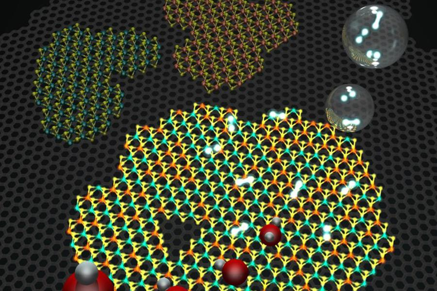 Molecular models representing a 2D heterostructure made of graphene (gray background hexagonal lattice), and islands on top of hexagonal WS2 and MoS, as well as an alloy of the two.