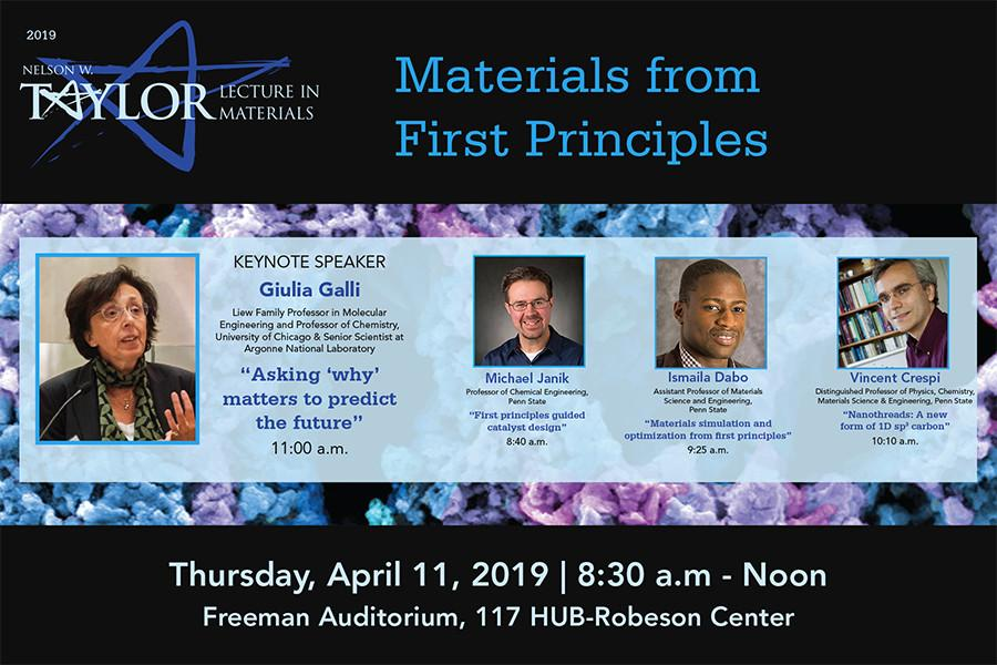 The 2019 Nelson W. Taylor Lecture Series in Materials Science and Engineering will be held on the University Park campus.