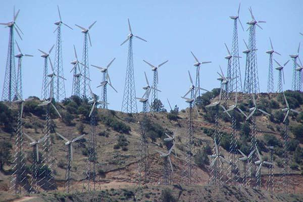 A wind farm in the Tehachapi mountains of California.