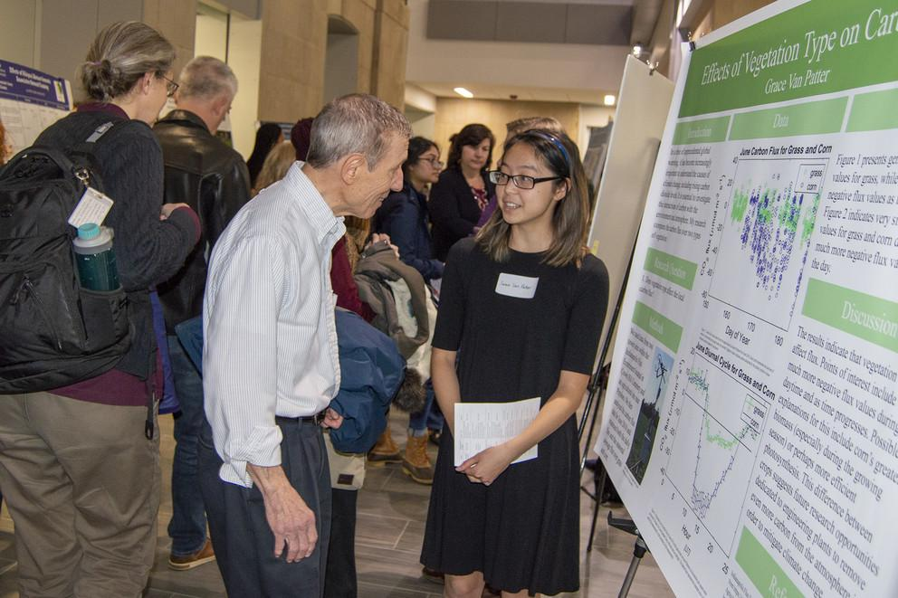 Grace Van Patter presents her research at the 2019 WISER/MURE/FURP undergraduate research symposium