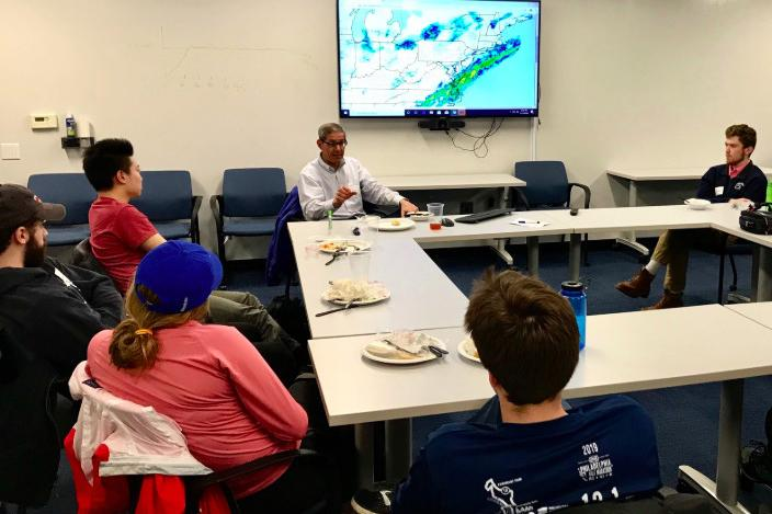 "Jon Nese speaks with Schreyer Honors College students during ""A World of Weather"" Distinguished Honors Faculty Program"