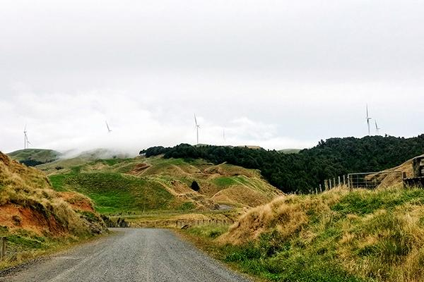 The Te Uku wind farm, carved into the rolling hills of New Zealand, is one of many wind farms that collectively provide about 5 percent of the nation's renewable energy.
