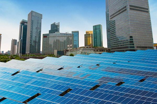 Solar panels in an urban landscape