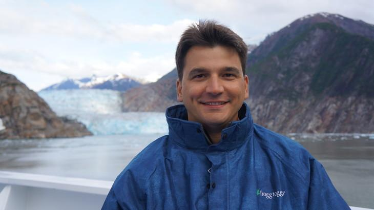 Penn State DuBois Associate Professor of Mathematics and Geosciences Byron Parizek during an excursion to Sawyer Glacier in Alaska.