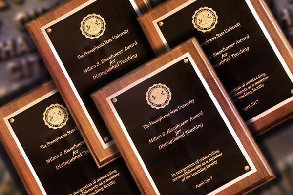 Plaques for Penn State's 2017 faculty and staff awards.