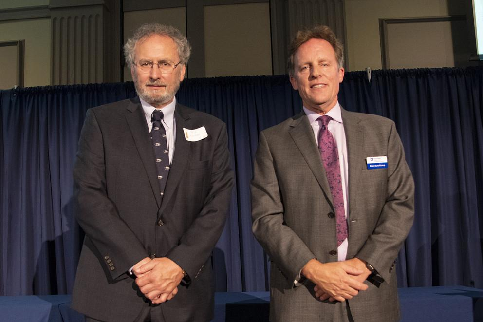 Joe Gofus, left, retired after a 36-year career in meteorology and atmospheric science