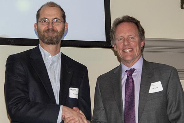 Klaus Keller, left, received the 2019 Outstanding Postdoc Mentor Award