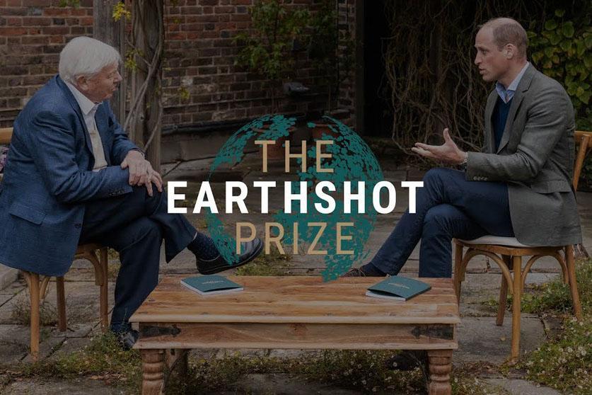The Duke of Cambridge, Prince William (right) speaks with David Attenborough