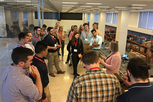 Penn State students tour the on-site lab at ExxonMobil's Houston campus.
