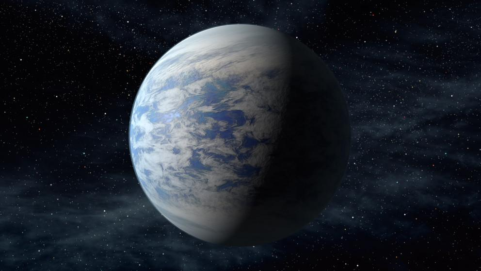 The artist's concept depicts Kepler-69c, a super-Earth-size planet in the habitable zone of a star like our sun, located about 2