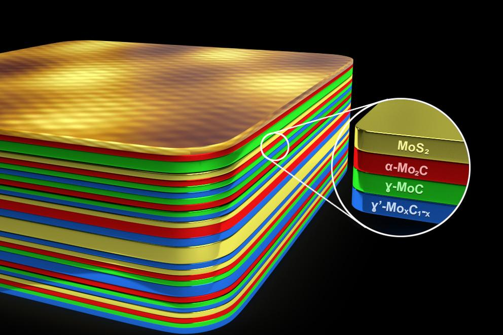 Layers of molybdenum carbide and molybdenum sulfide allow superconductivity at 50 percent higher temperatures