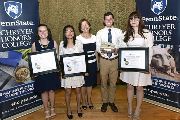The Schreyer Honors College distributed four annual senior awards to Scholars