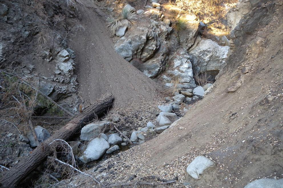 A stream channel showing accumulation of fine sediment following the 2009 Station Fire in California
