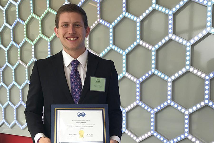 Evan Galimberti won first place in the Eastern North America regional Society of Petroleum Engineers (SPE) student paper contest