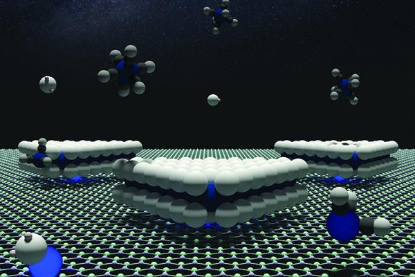 A boron nitride surface with tungsten atoms anchors triangular domains illustrating defect control of the orientation