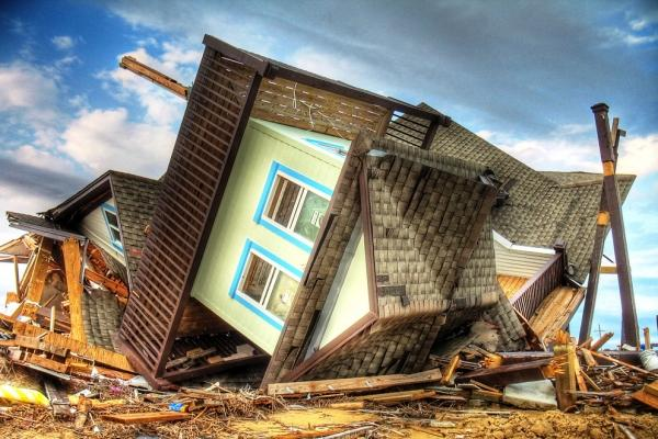 A beach house on the Bolivar Peninsula near Galveston, TX, destroyed by Hurricane Ike in 2008.