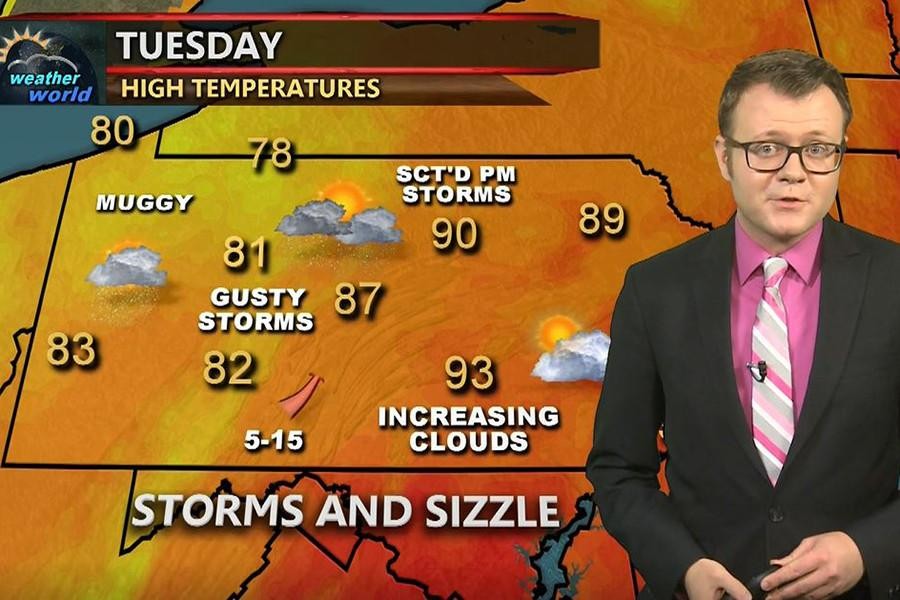 Rob Lydick gives an on-air weather forecast.