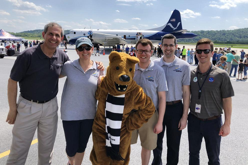 Jon Nese, Marisa Ferger, the Nittany Lion, Rob Lydick, Steve Seman and John Banghoff attend a hurricane awareness event
