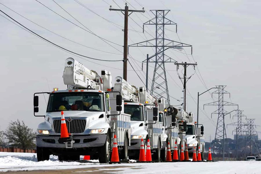 Trucks lined up to respond to power outages