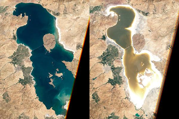 Aerial photos show that Lake Urmia, also known as Orumiyeh, in Iran, has steadily decreased in size.