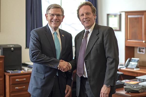 Kelvin Droegemeier (left) director of the White House Office of Science and Technology Policy is the spring commencement speaker