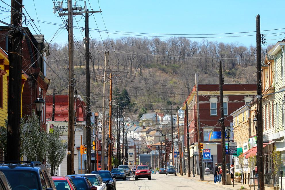 A street view of Millvale, Pennsylvania in 2014