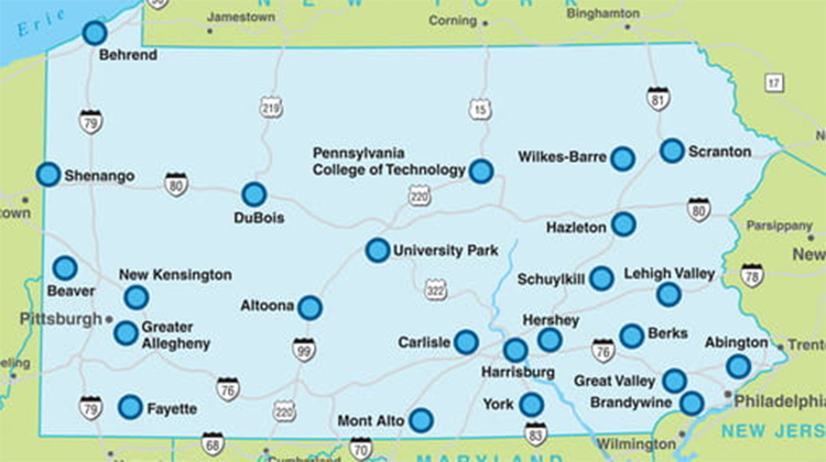 Map of campuses